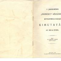 """A JÁSZBERÉNYI """"ERZSÉBET"""" KÖZKÓRHÁZ BETEGFORGALMÁNAK KIMUTATÁSA AZ 1913-ik ÉVRŐL"""